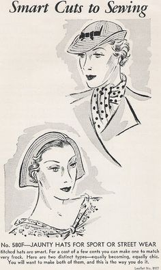 Sewing Vintage: Jaunty Hats From 1935