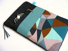 Tablet-PC-Taschen - Tablet Hülle 10 Zoll Jeans Grau Blau Ecken Petrol - ein Designerstück von kodanin bei DaWanda