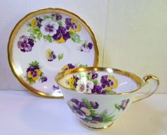 I love pansies --Royal Chelsea Teacup with Purple Yellow Flowers  - English Bone China Teacup Tea Cup