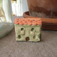 Little Green Ceramic House,Little Clay House,Green,Mediterranean House,Tuscan,Tiny House,the laundry hanging on rope,Rustic Small House by TatjanaCeramics on Etsy