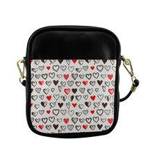 Red and Black Hearts Love Pattern Sling Bag (Model 1627)
