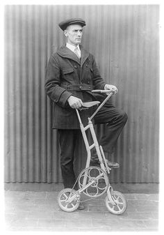 New bicycle helps solve transit problem, c1920. Library of Congress Prints and Photographs Division.