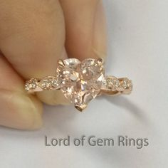 Heart Morganite Engagement Ring Pave Diamond Wedding 14K Rose Gold 8mm Art Deco - Lord of Gem Rings - 1