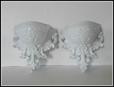 Pair of Vintage Homco Wall Pockets - Gloss White - Shabby Chic - French Chic - Country Cottage. $18.00, via Etsy.