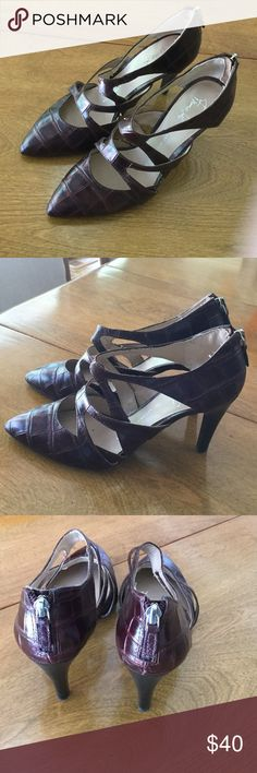 """Franco Sarto heels. This is from their artist collection series. The leather is a bronze/raspberry metallic color. Way cool. Heel is 3 1/2"""". Franco Sarto Shoes Heels"""
