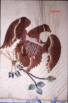 Detail, Eagle Medallion. (Maker not recorded). 1850-1875. From Connecticut Quilt Search, Connecticut Quilt Search Project. The Quilt Index
