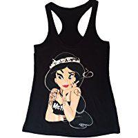 Princess Jasmin Misfits Tattoos Disney Punk Tank Top Ladies New