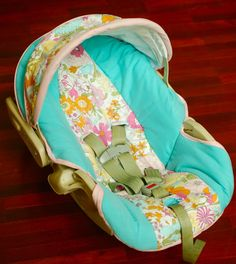 Carseat Cover Tutorial - crafterhours  A good idea for a way to change gender styles on your car seat : )
