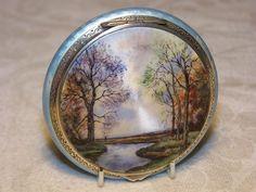 Vintage HM Silver Painted Enamel Compact