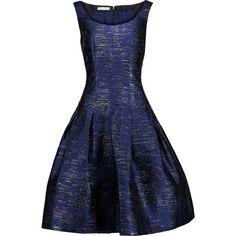 Oscar de la Renta - Metallic Faille Dress (3.710 BRL) ❤ liked on Polyvore featuring dresses, storm blue, multi colored dress, glamorous dresses, pleated dresses, oscar de la renta and blue dress