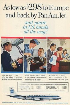 "An original 1960 advertisement for Pan American airlines. A fun colorful art print with a pilot and stewardess taking care of customers. Savings to Europe for this happy couple. ""and you're in U.S. ha"