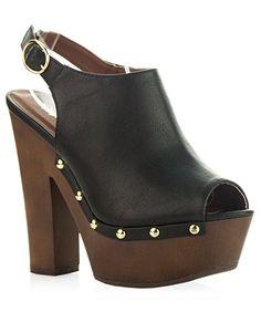 #ROF Women's Sling Back Side Stud Decor Peep Toe #Chunky Platform Clog Heel  #theladybuff #amazon.com
