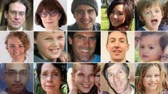 Faces of the victims of MH17, which was shot down in eastern Ukraine on 17 July 2014.