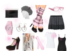 """Pink and Gray Plaid Schoolgirl Set"" by costumelicious on Polyvore, inspired by our pink plaid schoolgirl leg warmers    #SchoolGirl"
