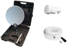 Opticum - Maletín con sistema satélite para camping (antena de 35 cm, LNB simple, soporte, ventosa, 10m cable con conectores F y carcasa impermeable): Amazon.es: Electrónica