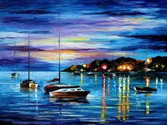 "MYSTERY OF THE NIGHT — PALETTE KNIFE Oil Painting On Canvas By Leonid Afremov - Size 30""x40"""
