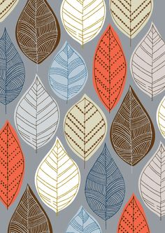 Autumn Leaves Grey Print by Eloise Renouf  on Little Paper Planes