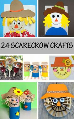 Scarecrow crafts for toddlers, preschoolers and kindergartners. Easy fall and autumn crafts for kids. Use paper roll, cupcake liner, paper bowl, paper plate. Easy Toddler Crafts, Easy Fall Crafts, Holiday Crafts, Fun Crafts, Creative Crafts, Thanksgiving Crafts For Toddlers, Halloween Crafts For Toddlers, Animal Crafts For Kids, Classroom Crafts
