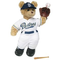 Curly Teddy in San Diego Padres™ Uniform - Build-A-Bear Workshop US $39.50