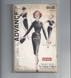 Advance 9545 Pattern for Misses' Fitted Hour-Glass Dress, Size 14, From 1950s, Sew Easy, The Bishop Method, Vintage Pattern, Mad Men Dress by VictorianWardrobe on Etsy