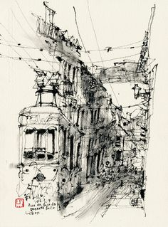 """KiahKiean - I started using dry twigs and Chinese ink to draw in 2011, beginning with """"dots"""" and """"lines"""", but I had to use diluted ink in order to achieve a grayscale """"surface"""". Later I found that the ink midtone surface can be achieved by rubbing ink with a dry brush on watercolour paper."""