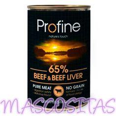 Profine Buey. Profine Pure meat, Es una gama superpremium de comida húmeda para perro a base de carne.
