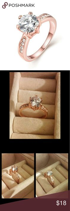 Rose Gold Cubic Zirconia Engagement Ring U CHOOSE size Size 7 Size 8 Beautiful rose gold ring with grade A cubic zirconia gemstones High shine finish Brand new high quality What u see is What u get Next day shipping Bundle n save Please follow n share I'm raising money for my family i greatly appreciate every share like n purchase. Kisses hugs Jewelry Rings