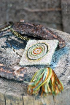 Grey woolen keychain with embroidery and colorful by EnelinPedak, €25.00