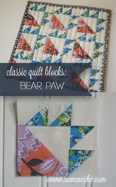 Classic Blocks: Fresh Fabric for December... the Bear Paw — SewCanShe | Free Daily Sewing Tutorials. I love the quilting on this.