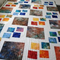 Lap quilt, sofa throw, patchwork red from StephsQuilts on Etsy