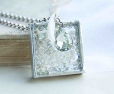 Frost on the Window Necklace Winter White Ice by redtruckdesigns, $22.00