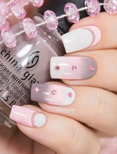 Gentle ombre from gray through pink to white color enriched with pink rhinestones.