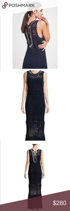 """50% OFF Sale!!! ELIE TAHARI Crochet Dress Offer 50% off listed price sale! Closet clear out!   This a beautiful cotton crochet dress. All accessories included!   Crocheted cotton sweater with scalloped trim Crewneck Sleeveless Self-tie lace at back About 59"""" from shoulder to hem Viscose/polyester lining. Elie Tahari Dresses"""