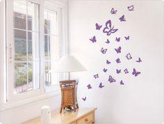 Wandtattoo  Schmetterlinge  (25 Stück) Schlafzimmer Wandsticker Wanddeko