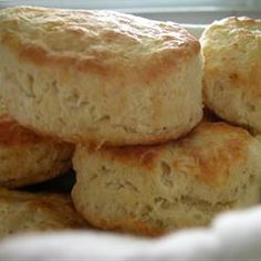 J.P.'s Big Daddy Biscuits Allrecipes.com    It says it takes 45 minutes. It's more like 25 with baking. I also use butter instead of shortening. Trust me they taste MUCH better.