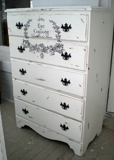 Dresser, High boy chest, shabby, french script, white, black, chippy, chalk paint, distressed. $405.00, via Etsy.