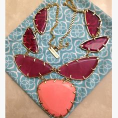 Kendra Scott statement necklace Tangerine and pinkish statement necklace in excellent condition. Kendra Scott Jewelry Necklaces