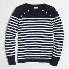 Sailor-striped pullover sweater