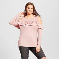 Women's Plus Size Ruffled Cold Shoulder Blouse - No Comment (Juniors') - Pink 1X