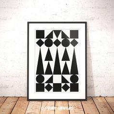 Ich freue mich, den jüngsten Neuzugang in meinem #etsy-Shop vorzustellen: Printable Wall Art, Geometric Pattern, Square, Circle, Triangle, Black and White Poster, Digital Download, Designer Poster, Modern Poster http://etsy.me/2FzXHNy #kunst #drucke #digital #weiss #sc