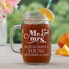 LOVE these personalized Wedding Mason Jars! You can personalize them with Mr. and Mr., Mrs. and Mrs. or Mr. and Mrs. and you can add their names and wedding date - perfect for the wedding toast, as wedding favors or rustic wedding centerpieces for each of the tables!