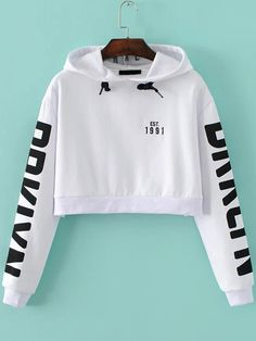 To find out about the White Letter Print Hooded Crop Sweatshirt at SHEIN, part of our latest Sweatshirts ready to shop online today! White Hooded Sweatshirt, Cropped Hoodie, Hooded Sweatshirts, White Hoodie, Cotton Hoodies, Long Hoodie, Crop Top Hoodie, Pullover Sweaters, Graphic Sweatshirt