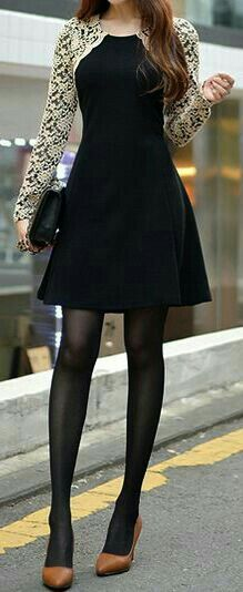 Elegant Lace Sleeve Black Dress (minus the hideous shoes) Cute Dresses, Short Dresses, Cute Outfits, Black Tights, Lace Sleeves, Asian Fashion, I Dress, Beautiful Outfits, Fashion Dresses