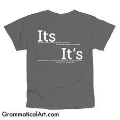 Grammar Shirt Its and It's Men's Geek Shirt Cool by GrammaticalArt, $18.00