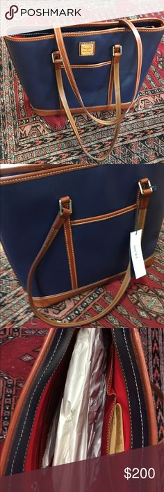 "Dooney & Bourke Navy Cynthia Tote Brand new with tags. Classic style and color. H 11.75"" x W 4"" x L 14"" Two inside pockets. One inside zip pocket. Cell phone pocket. Inside key hook. Two outside pockets. Lined. Zipper closure. Feet. Handle drop length 11.75"". Does not include dust cover. Dooney & Bourke Bags Totes"