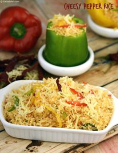 Enjoy this rice dish made with bell peppers, cheese and spices.