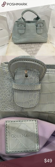 Cole Haan Mini Satchel Crocodile Design Light Blue Cole Haan Mini satchel crocodile leather pattern in light blue  size approx. 10x 7 x 3-1/2 gently used. Cole Haan Bags Satchels