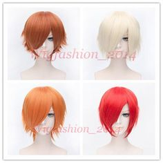Anime Fashion Short Wig Cosplay Party Straight Hair Cosplay Full Wigs #Aicos…