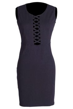 Cupshe Black Rose Lace Up Bodycon Dress