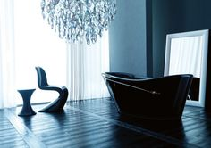 Black Bathtub / classy / panton chair / chandelier / mirror